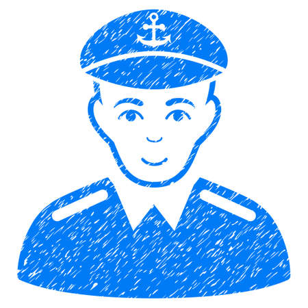 chieftain: Captain grainy textured icon for overlay watermark stamps. Flat symbol with scratched texture. Dotted vector blue ink rubber seal stamp with grunge design on a white background. Illustration