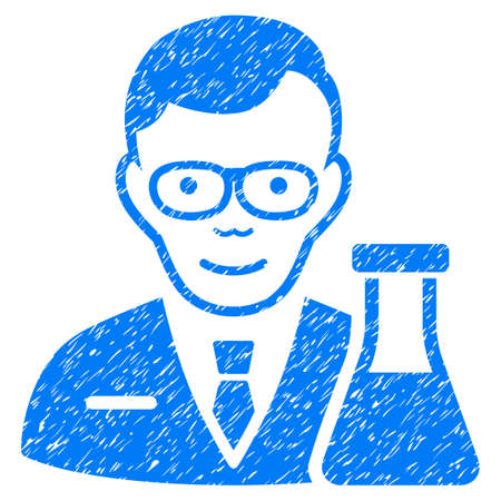 Chemist grainy textured icon for overlay watermark stamps. Flat symbol with unclean texture. Dotted vector blue ink rubber seal stamp with grunge design on a white background. Illustration