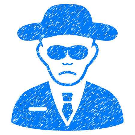 fbi: Security Agent grainy textured icon for overlay watermark stamps. Flat symbol with scratched texture. Dotted glyph blue ink rubber seal stamp with grunge design on a white background.