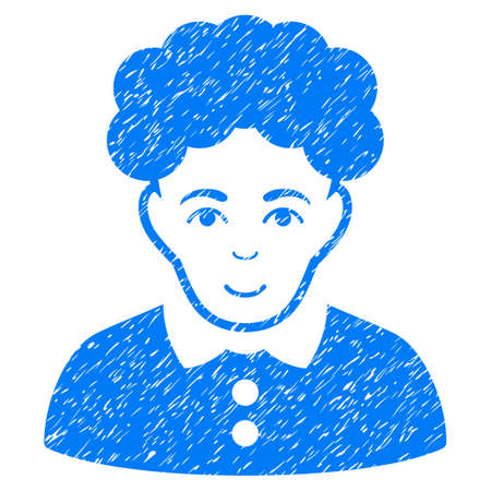 personality: Brunette Woman grainy textured icon for overlay watermark stamps. Flat symbol with scratched texture. Dotted vector blue ink rubber seal stamp with grunge design on a white background.