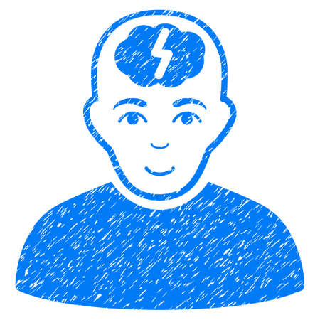 Clever Boy grainy textured icon for overlay watermark stamps. Flat symbol with unclean texture. Dotted vector blue ink rubber seal stamp with grunge design on a white background.