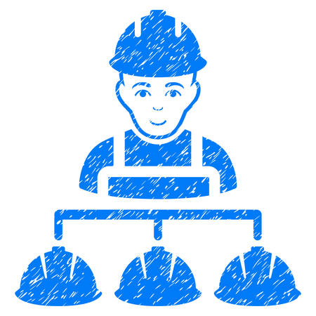 Builder Management grainy textured icon for overlay watermark stamps. Flat symbol with dust texture. Dotted vector blue ink rubber seal stamp with grunge design on a white background.