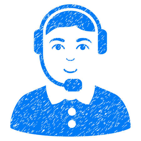 talker: Call Center Operator grainy textured icon for overlay watermark stamps. Flat symbol with dirty texture. Dotted vector blue ink rubber seal stamp with grunge design on a white background.