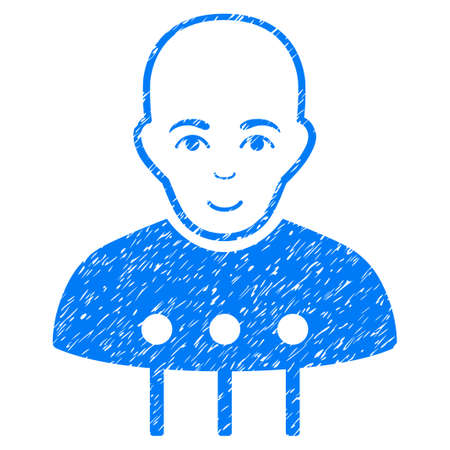 cranial: Cyborg Interface grainy textured icon for overlay watermark stamps. Flat symbol with unclean texture. Dotted vector blue ink rubber seal stamp with grunge design on a white background.