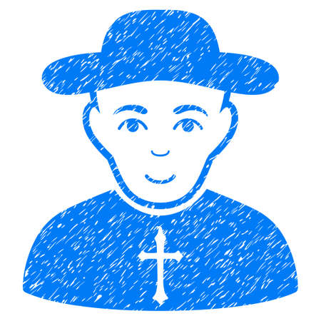 Christian Priest grainy textured icon for overlay watermark stamps. Flat symbol with unclean texture. Dotted glyph blue ink rubber seal stamp with grunge design on a white background. Stock Photo