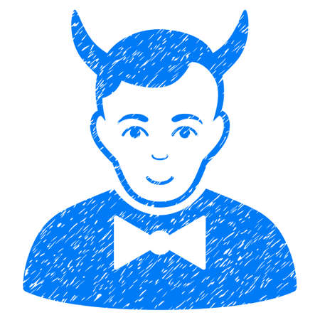 fearsome: Devil grainy textured icon for overlay watermark stamps. Flat symbol with unclean texture. Dotted glyph blue ink rubber seal stamp with grunge design on a white background. Stock Photo