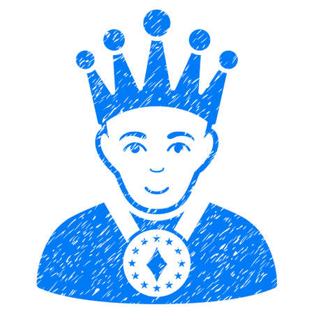czar: King grainy textured icon for overlay watermark stamps. Flat symbol with scratched texture. Dotted glyph blue ink rubber seal stamp with grunge design on a white background.