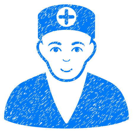 Medic grainy textured icon for overlay watermark stamps. Flat symbol with scratched texture. Dotted glyph blue ink rubber seal stamp with grunge design on a white background.