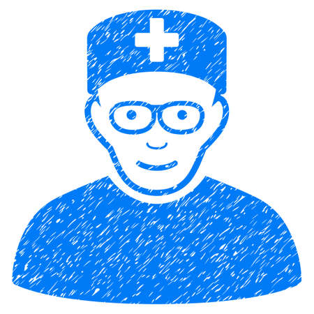 Medical Specialist grainy textured icon for overlay watermark stamps. Flat symbol with dust texture. Dotted glyph blue ink rubber seal stamp with grunge design on a white background.