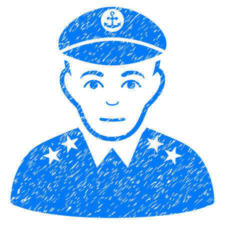 Military Captain grainy textured icon for overlay watermark stamps. Flat symbol with unclean texture. Dotted glyph blue ink rubber seal stamp with grunge design on a white background.