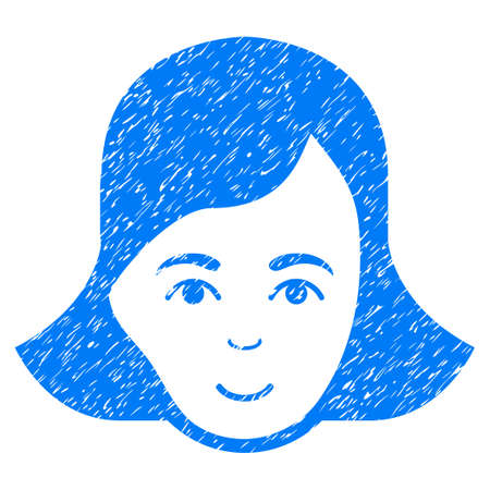 Lady Face grainy textured icon for overlay watermark stamps. Flat symbol with unclean texture. Dotted glyph blue ink rubber seal stamp with grunge design on a white background.