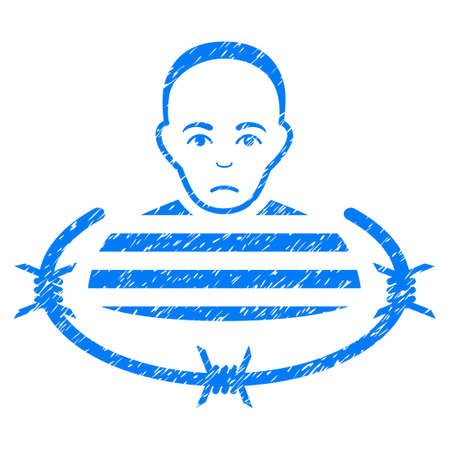barbed: Isolated Prisoner grainy textured icon for overlay watermark stamps. Flat symbol with dust texture. Dotted vector blue ink rubber seal stamp with grunge design on a white background.