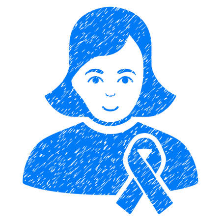 dirty girl: Girl With Sympathy Ribbon grainy textured icon for overlay watermark stamps. Flat symbol with dirty texture. Dotted vector blue ink rubber seal stamp with grunge design on a white background. Illustration