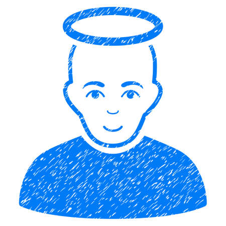 unreal: Holy Man grainy textured icon for overlay watermark stamps. Flat symbol with unclean texture. Dotted vector blue ink rubber seal stamp with grunge design on a white background.
