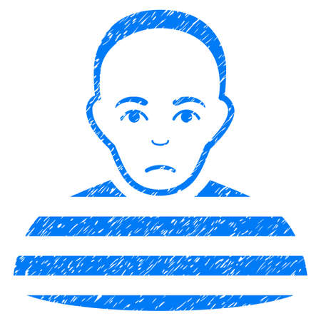 arrested criminal: Prisoner grainy textured icon for overlay watermark stamps. Flat symbol with dirty texture. Dotted vector blue ink rubber seal stamp with grunge design on a white background.