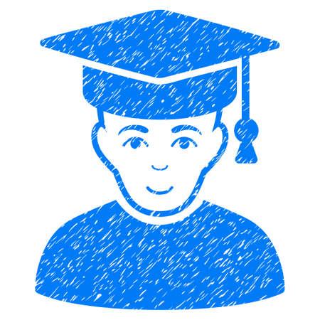 Professor körnig texturierte Symbol für Overlay-Wasserzeichen Briefmarken. Flache Symbol mit unreinen Textur. Gepunktete Vektor blaue Tinte Gummidichtung Stempel mit Grunge-Design auf einem weißen Hintergrund.