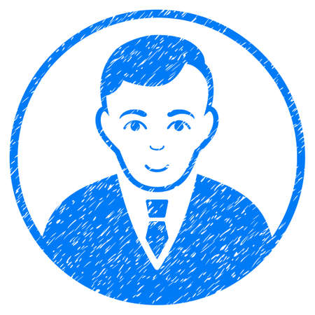 Rounded Gentleman grainy textured icon for overlay watermark stamps. Flat symbol with scratched texture. Dotted vector blue ink rubber seal stamp with grunge design on a white background.