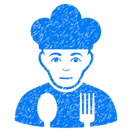 Sad Cook grainy textured icon for overlay watermark stamps. Flat symbol with dirty texture. Dotted vector blue ink rubber seal stamp with grunge design on a white background.