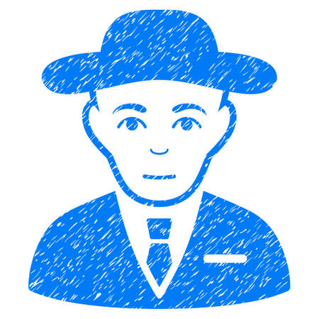 Secret Service Agent grainy textured icon for overlay watermark stamps. Flat symbol with unclean texture. Dotted vector blue ink rubber seal stamp with grunge design on a white background.