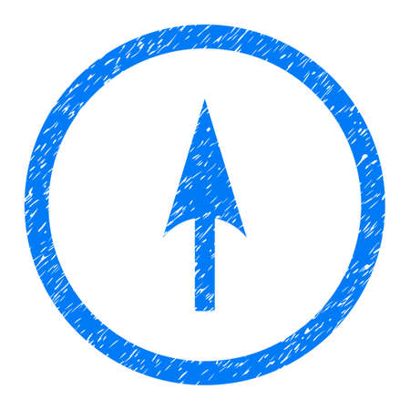 Rounded Arrow Axis Y rubber seal stamp watermark. Icon symbol inside circle with grunge design and unclean texture. Unclean glyph blue sticker.