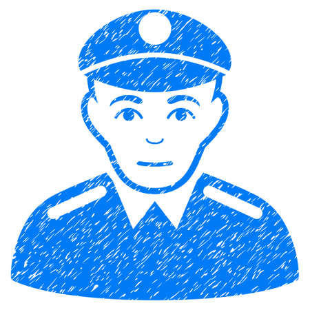 patrolman: Soldier grainy textured icon for overlay watermark stamps. Flat symbol with scratched texture. Dotted vector blue ink rubber seal stamp with grunge design on a white background. Illustration