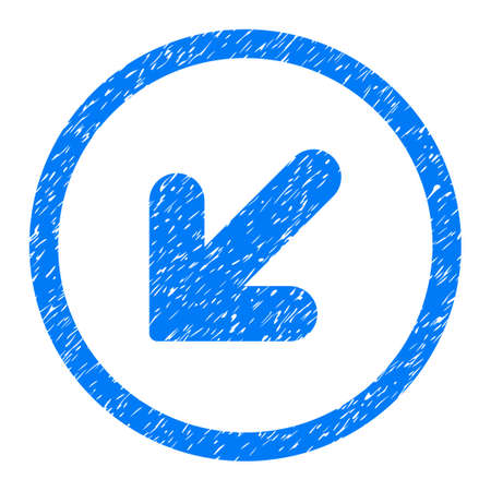 Rounded Arrow Down Left rubber seal stamp watermark. Icon symbol inside circle with grunge design and scratched texture. Unclean glyph blue sign. Stock Photo