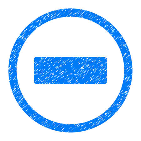 Rounded Minus rubber seal stamp watermark. Icon symbol inside circle with grunge design and scratched texture. Unclean glyph blue emblem.