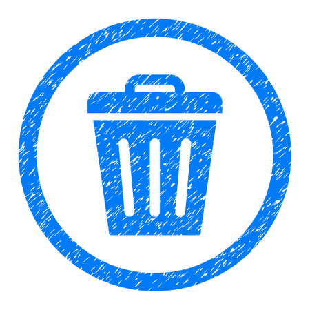 Rounded Trash Can rubber seal stamp watermark. Icon symbol inside circle with grunge design and dirty texture. Unclean glyph blue sticker.