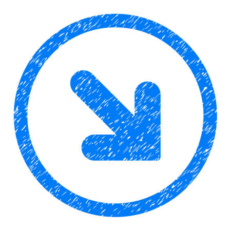 Rounded Arrow Down Right rubber seal stamp watermark. Icon symbol inside circle with grunge design and scratched texture. Unclean vector blue sticker.