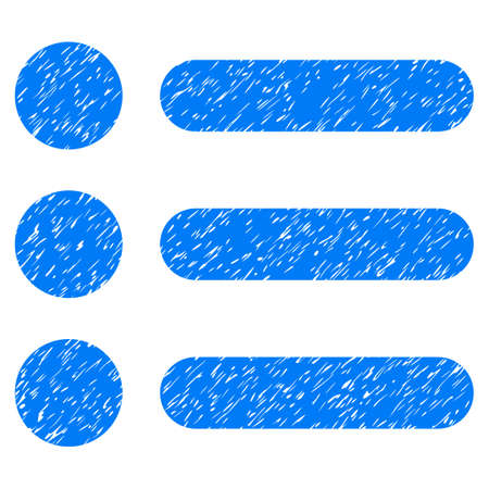 Items grainy textured icon for overlay watermark stamps. Flat symbol with dirty texture. Dotted glyph blue ink rubber seal stamp with grunge design on a white background. Stock Photo