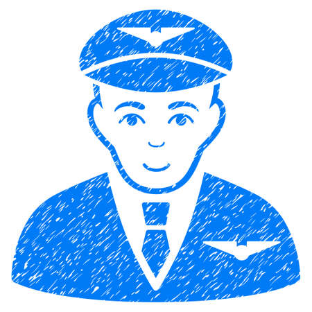 Pilot grainy textured icon for overlay watermark stamps. Flat symbol with dust texture. Dotted vector blue ink rubber seal stamp with grunge design on a white background.