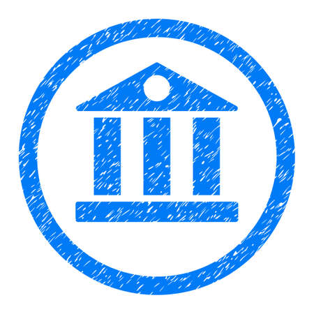 corporative: Rounded Bank rubber seal stamp watermark. Icon symbol inside circle with grunge design and scratched texture. Unclean vector blue sign. Illustration