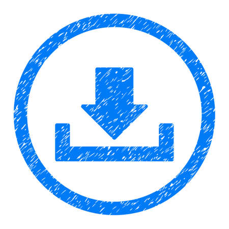 Rounded Download rubber seal stamp watermark. Icon symbol inside circle with grunge design and unclean texture. Unclean vector blue sign.
