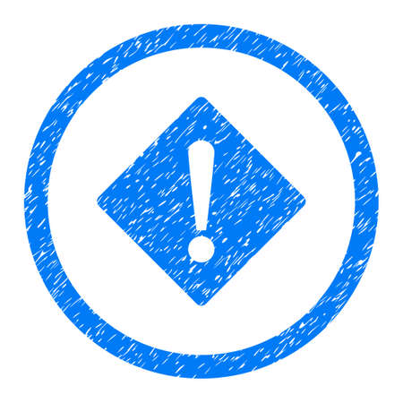Rounded Error rubber seal stamp watermark. Icon symbol inside circle with grunge design and dust texture. Unclean vector blue sign.