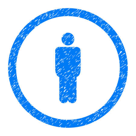 Rounded Man rubber seal stamp watermark. Icon symbol inside circle with grunge design and dirty texture. Unclean vector blue sticker.