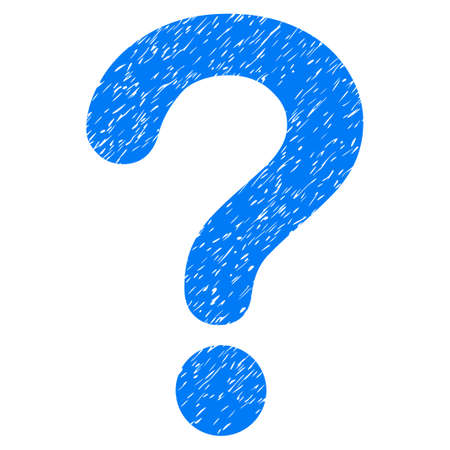 sql: Question grainy textured icon for overlay watermark stamps. Flat symbol with dust texture. Dotted glyph blue ink rubber seal stamp with grunge design on a white background.