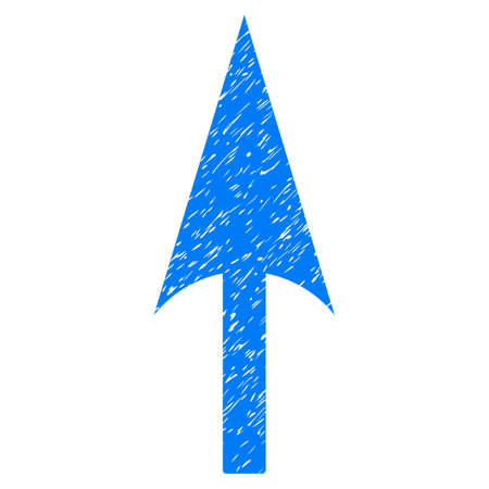 Arrow Axis Y grainy textured icon for overlay watermark stamps. Flat symbol with dirty texture. Dotted vector blue ink rubber seal stamp with grunge design on a white background.