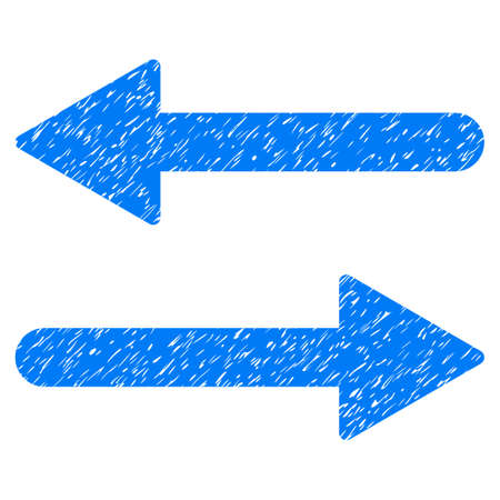 inverse: Arrows Exchange Horizontal grainy textured icon for overlay watermark stamps. Flat symbol with unclean texture. Dotted vector blue ink rubber seal stamp with grunge design on a white background.