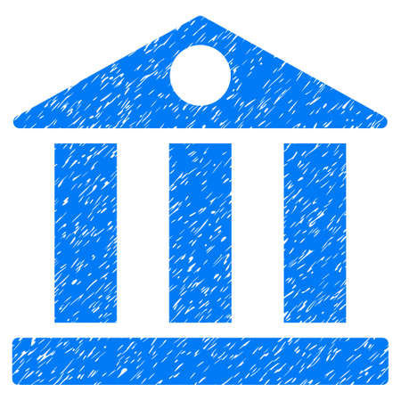 Bank Building grainy textured icon for overlay watermark stamps. Flat symbol with unclean texture. Dotted vector blue ink rubber seal stamp with grunge design on a white background.