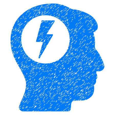 Brain Electric Shock grainy textured icon for overlay watermark stamps. Flat symbol with dirty texture. Dotted glyph blue ink rubber seal stamp with grunge design on a white background.