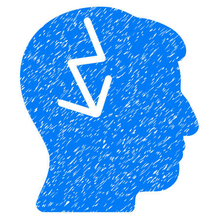 ruch: Brain Electric Strike grainy textured icon for overlay watermark stamps. Flat symbol with unclean texture. Dotted glyph blue ink rubber seal stamp with grunge design on a white background. Stock Photo