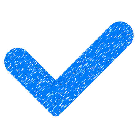 Yes grainy textured icon for overlay watermark stamps. Flat symbol with dirty texture. Dotted vector blue ink rubber seal stamp with grunge design on a white background.