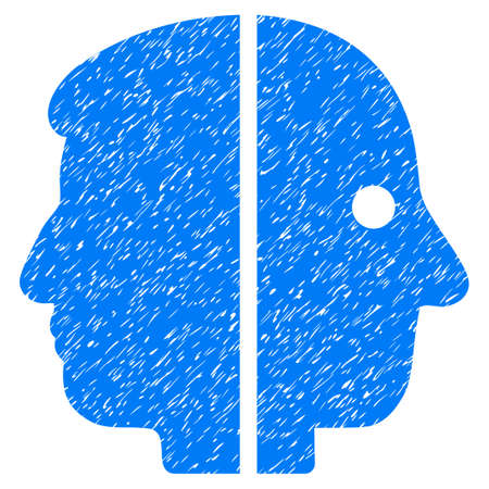 janus: Dual Face grainy textured icon for overlay watermark stamps. Flat symbol with dust texture. Dotted glyph blue ink rubber seal stamp with grunge design on a white background. Stock Photo