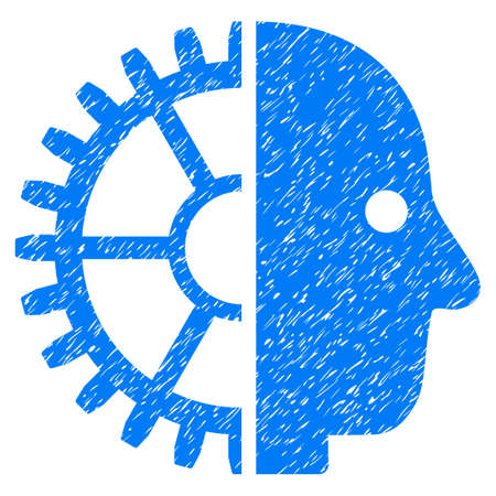 Cyborg Head grainy textured icon for overlay watermark stamps. Flat symbol with dust texture. Dotted glyph blue ink rubber seal stamp with grunge design on a white background.