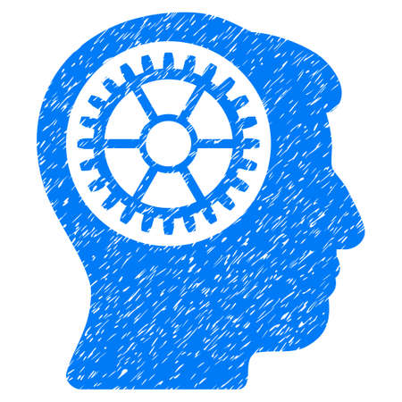 Head Cogwheel grainy textured icon for overlay watermark stamps. Flat symbol with unclean texture. Dotted glyph blue ink rubber seal stamp with grunge design on a white background.