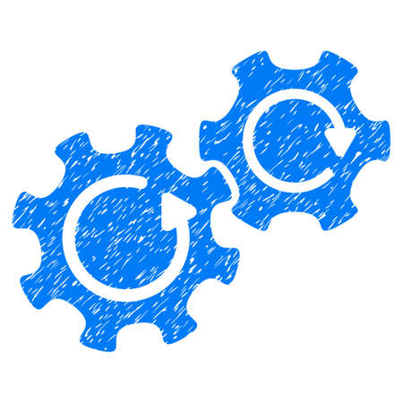 Gears Rotation grainy textured icon for overlay watermark stamps. Flat symbol with dust texture. Dotted glyph blue ink rubber seal stamp with grunge design on a white background. Stock Photo
