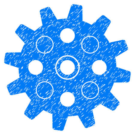 dientes sucios: Gearwheel grainy textured icon for overlay watermark stamps. Flat symbol with dirty texture. Dotted glyph blue ink rubber seal stamp with grunge design on a white background.