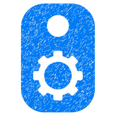 Gear Tag grainy textured icon for overlay watermark stamps. Flat symbol with scratched texture. Dotted glyph blue ink rubber seal stamp with grunge design on a white background.