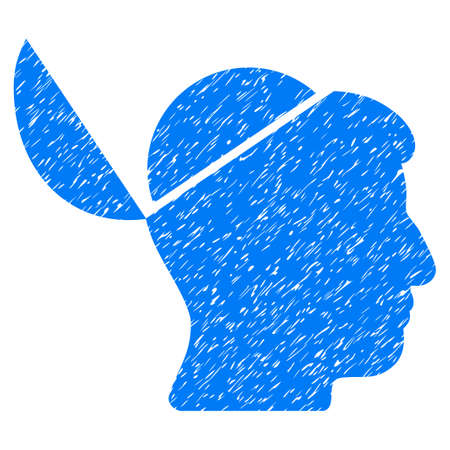 sculp: Open Brain grainy textured icon for overlay watermark stamps. Flat symbol with dust texture. Dotted glyph blue ink rubber seal stamp with grunge design on a white background.