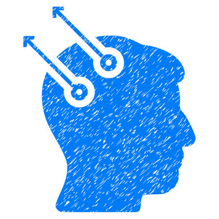 Neural Interface Plugs grainy textured icon for overlay watermark stamps. Flat symbol with scratched texture. Dotted glyph blue ink rubber seal stamp with grunge design on a white background.